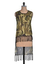 Camouflage Printed Hi-Low Georgette Fringed Top - By
