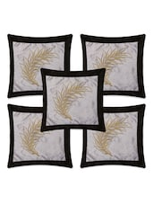 Black Silk Embriodery Cushion Covers (Set Of 5) - By
