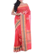 Red Zari Worked Chanderi Silk Saree - By