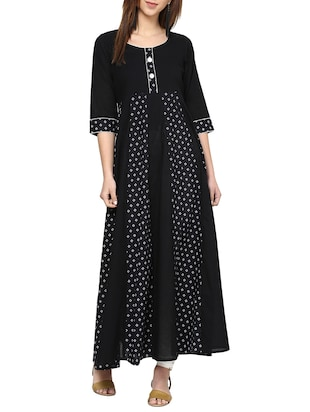 black printed cotton anarkali kurta