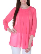 Solid Pink Georgette Sheer Top - By
