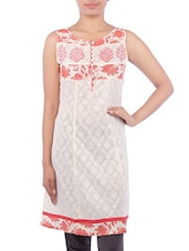 Printed White And Red Cotton Kurta - By