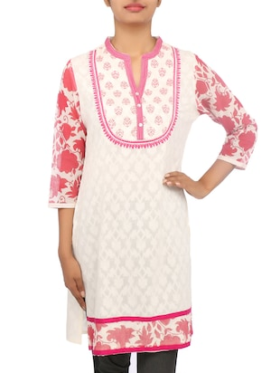 White and Pink Cotton Jacquard Kurti