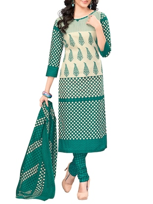 green polka dotted printed cotton salwar suits dress material