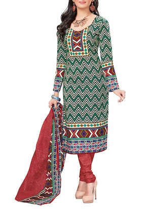 green chevron printed cotton salwar suits dress material