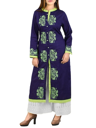 blue khadi straight kurta -  online shopping for kurtas