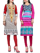 Multi Colored Cotton Printed Combos Unstitched Kurta - By