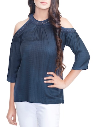 navy blue viscose top