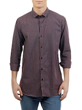 brown cotton checked formal shirt -  online shopping for formal shirts