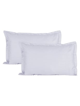 Ahmedabad Cotton Luxurious Sateen Striped Pillow Cover / Case Set (2 Pcs) 300 Thread Count - White -  online shopping for pillow covers