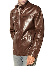 brown faux leather casual jacket -  online shopping for Casual Jacket