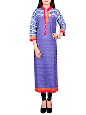 blue colored cotton long kurta -  online shopping for kurtas