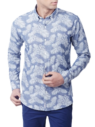 blue cotton printed casual shirt