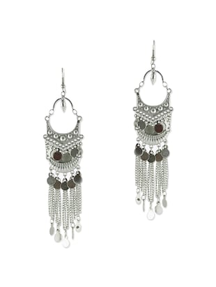 silver metal drop earring -  online shopping for earrings