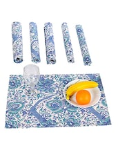 Rajrang Green Florals Hand Block Printed Cotton Placemat Set Of 6 - By