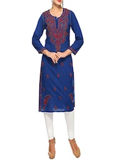Blue Cotton Straight Kurta - By