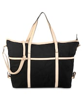 Black And Beige Cotton Handbag - By