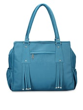Solid Blue Leatherette Handbag - By