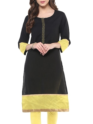 black cotton flared kurta