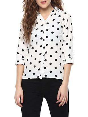 white crepe polka dot shirt