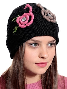 Buy black woollen embroidered and printed cap by 90 west online