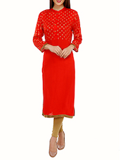 Red Block Printed Rayon Straight Kurta - By