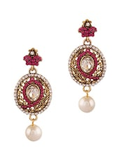 Pink Studded Pearl Drop Earrings - By