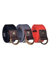Pack Of 3 Multi Colored Canvas Belt - By - 12890395