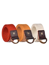 Pack Of 3 Multi Colored Canvas Belt - By - 12890440