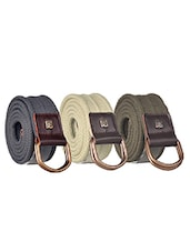 Pack Of 3 Multi Colored Canvas Belt - By - 12890488