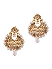 Gold Studded Pearl Drop Earrings - By
