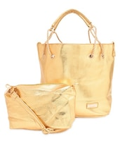 Gold Faux Leather Tote With Matching Sling Bag - By