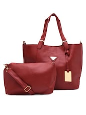 Maroon Faux Leather Tote With Sling Bag - By