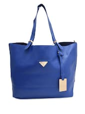 Blue Faux Leather Tote With Sling Bag - By