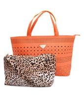 Orange Cut-work Detailed Handbag With Sling Bag - By