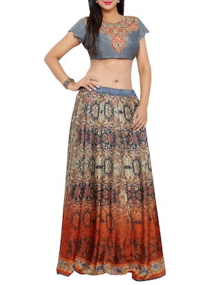 Multicolored Satin flared lehenga