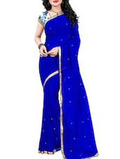 blue color georgette saree -  online shopping for Sarees