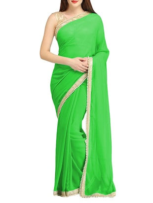 green color georgette saree -  online shopping for Sarees