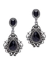 Multcolored Metallic Embellished Drop Earrings - By