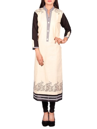cream cotton embroidered long kurta -  online shopping for kurtas