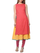 red colored rayon long kurta -  online shopping for kurtas