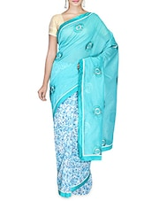 Blue Printed Supernet Saree With Blouse Piece - By