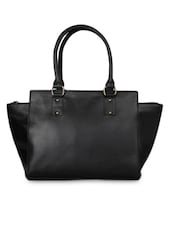 Solid Black Zippered Leatherette Handbag - By