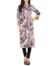 Purple Rayon Straight Kurta - By
