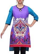 Printed Purple And Blue Hi-Lo Kurta - By