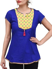 Royal Blue Printed Chanderi Cotton Kurti - By