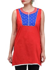 Red Printed Chanderi Cotton Kurti - By