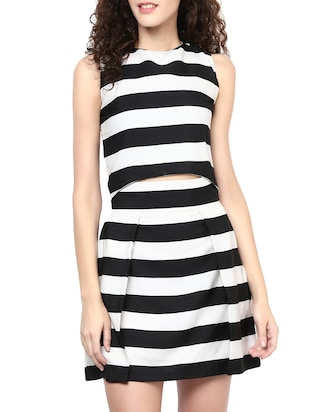 Monochrome crepe top skirt set -  online shopping for Sets