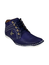 blue Leatherette lace up boot -  online shopping for Boots
