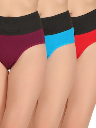 set of 3 multicolored cotton shaper brief